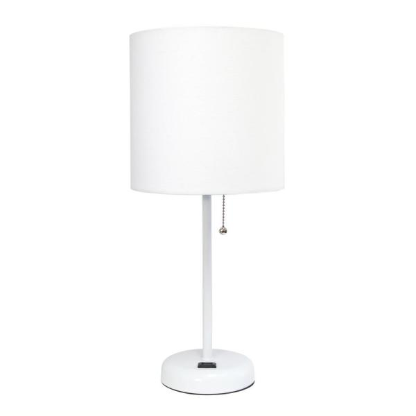 19.5 in. White Stick Lamp with Charging Outlet and Fabric Shade