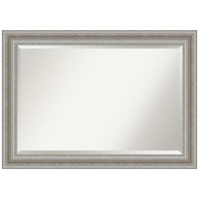 Medium Rectangle Antique Silver Metallic Beveled Glass Modern Mirror (29.5 in. H x 41.5 in. W)