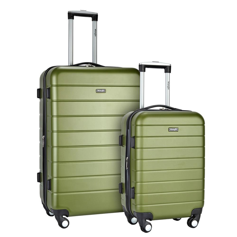 Wrangler Olive Expandable Hardside Rolling Vertical Luggage Set (2-Piece)
