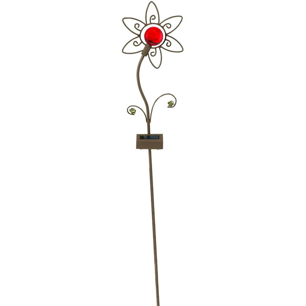 Moonrays Outdoor Bronze Solar Powered LED Petite Red Flower Planter Light-DISCONTINUED