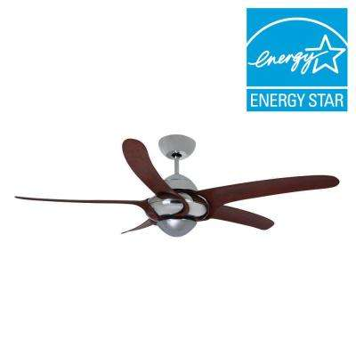 Uragano 54 in. Indoor Chrome Ceiling Fan with 5 Mahogany Blades