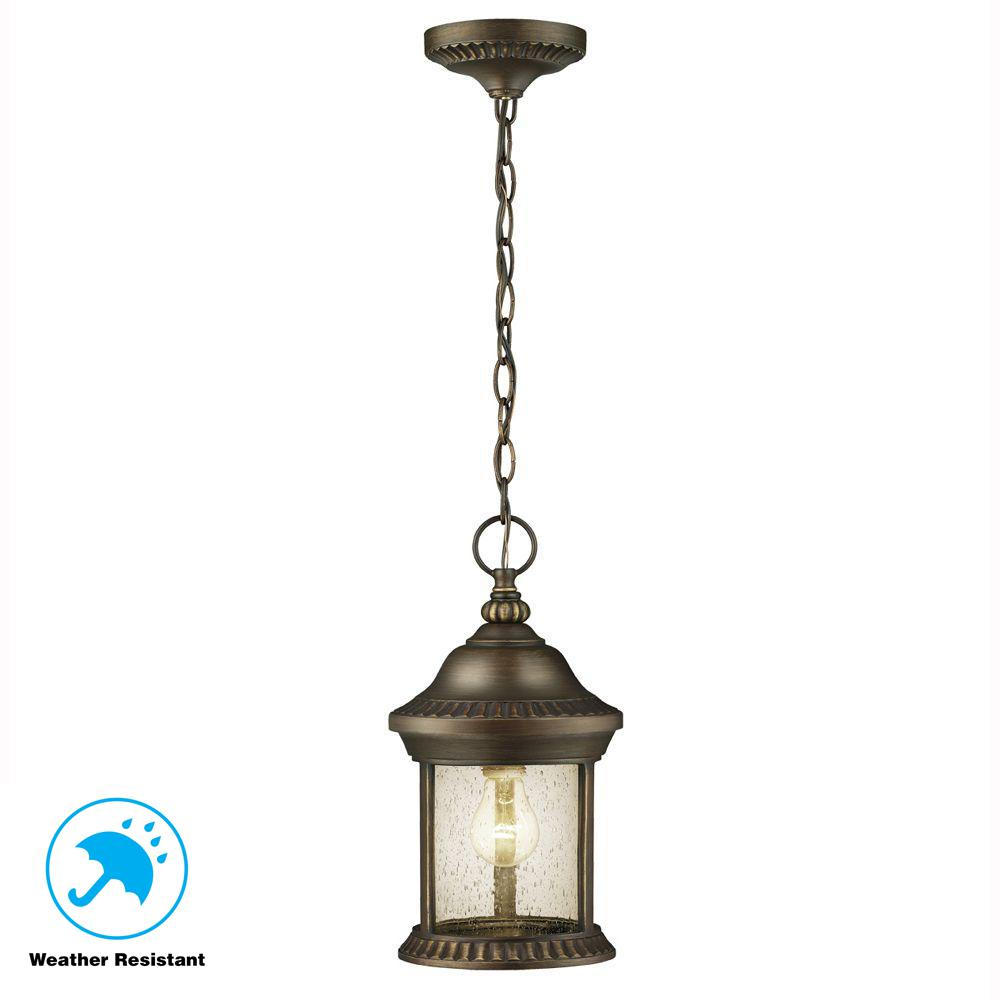 Hampton Bay Cambridge 1 Light Outdoor Es Bronze Hanging Lantern