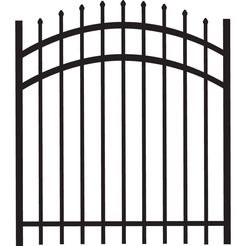 Cascade 4 ft. W x 4 ft. H Black Heavy-Duty Aluminum Arched Pre-Assembled Fence Gate
