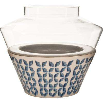Vidro 7 in. W x 7 in. H Glass Votive Terrarium with Blue and White Ceramic Dish