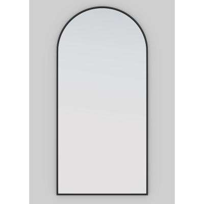 62 in. x 30 in. Arch Leaner Dressing Black Stainless Steel Framed Mirror