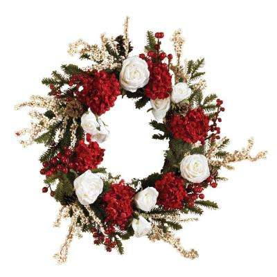 24 in. Hydrangea Wreath with White Roses