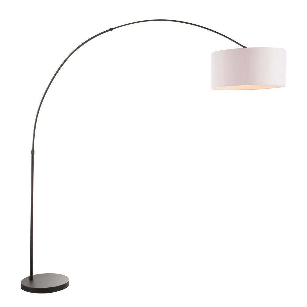 Black Metal Floor Lamp With White