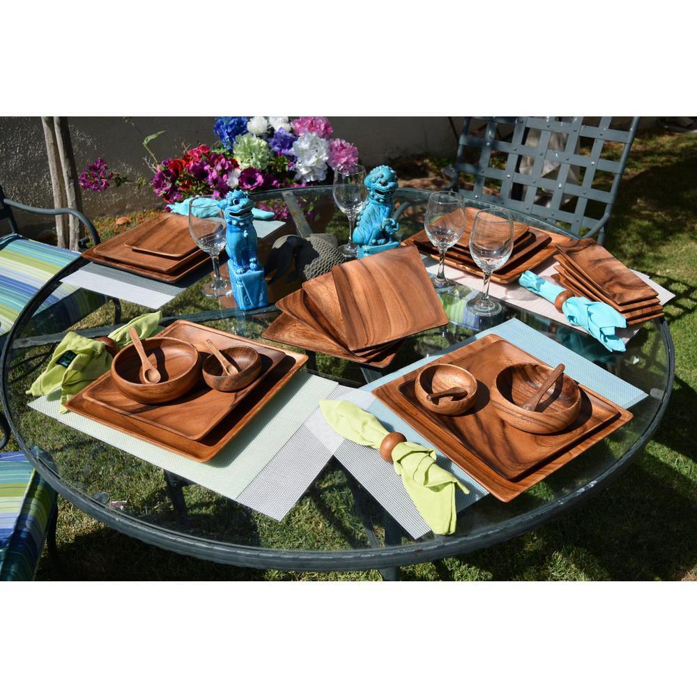 6-Piece Acacia Hardwood Appetizer Serving Tray Set
