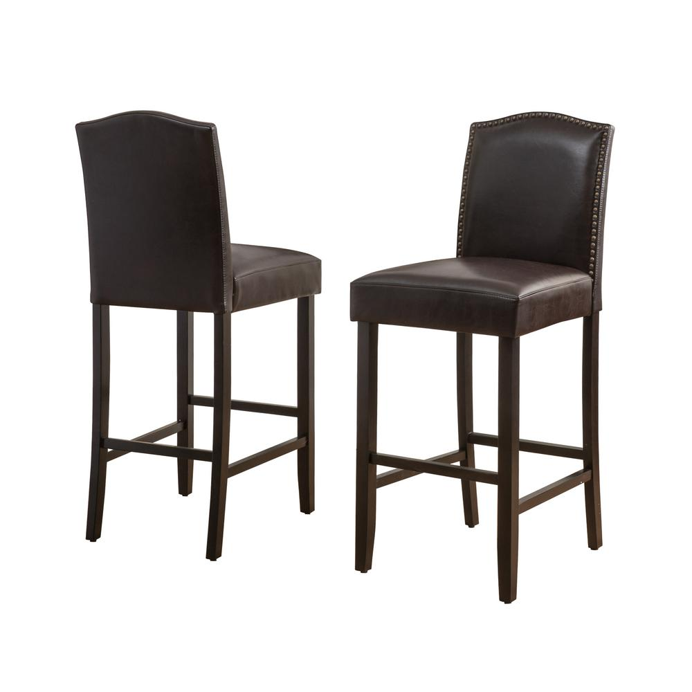 Markson 45 in brown cushioned bar stool set of 2