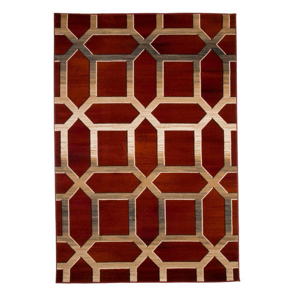Opus Art Deco Burgundy 3 ft. x 5 ft. Area Rug