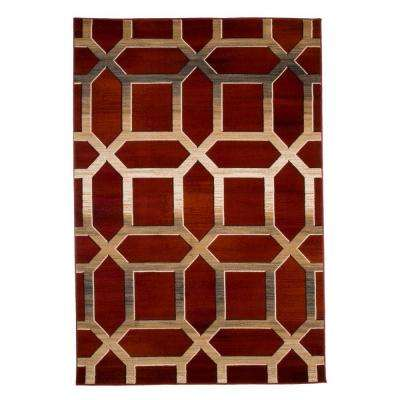 Opus Art Deco Burgundy 8 ft. x 10 ft. Area Rug
