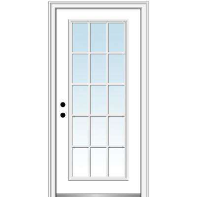 32 in. x 80 in. Classic Right-Hand Inswing 15-Lite Clear Low-E Primed Steel Prehung Front Door on 6-9/16 in. Frame