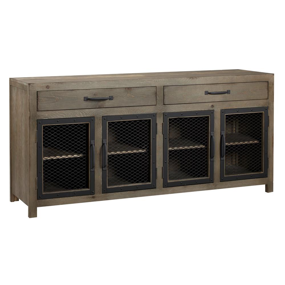 Scottsdale 72 in. Mushroom Wood TV Stand with 2 Drawer Fits TVs Up to 80 in. with Storage Doors