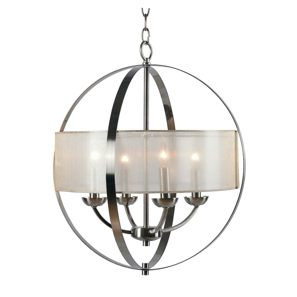 Kenroy Home Lighting Keen Bronze Pendant Light With Drum: Kenroy Home Veil 4-Light Steel Chandelier With Mesh Gold