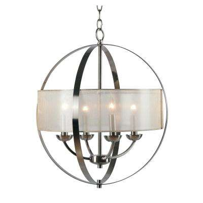 Veil 4-Light Steel Chandelier with Mesh Gold Shade