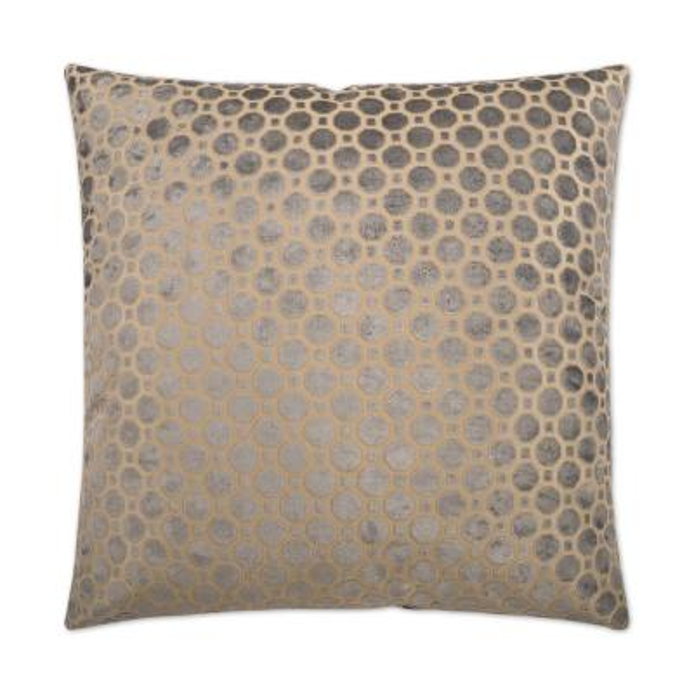 Geo Velvet Grey Geometric Down 24 in. x 24 in. Throw Pillow