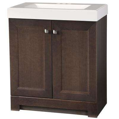 Shaila 30.5 in. W Bath Vanity in Gray Oak with Cultured Marble Vanity Top in White with White Basin