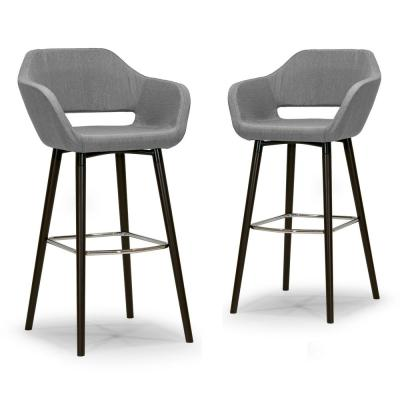 29.5 in. Adel Modern Grey Fabric  Bar Stool with Beech Legs (Set of 2)