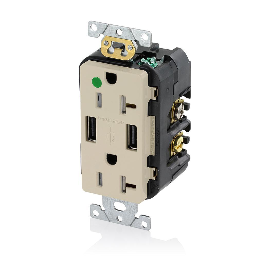 Decora 20 Amp Hospital Grade Tamper Resistant Duplex Outlet and 3.6 Amp USB Outlet, Ivory