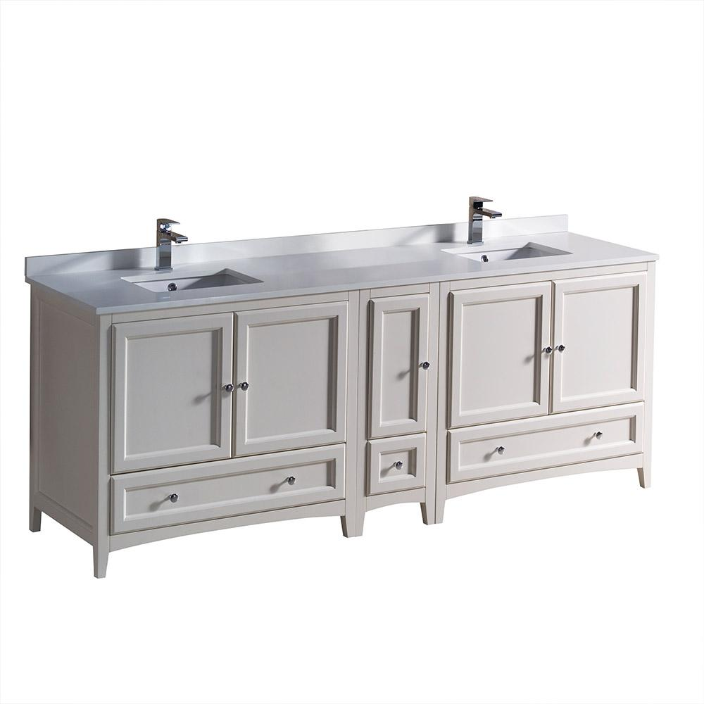 Fresca Oxford 84 in. Double Vanity in Antique White with Quartz Stone Vanity Top in White with White Basin with Side Cabinet