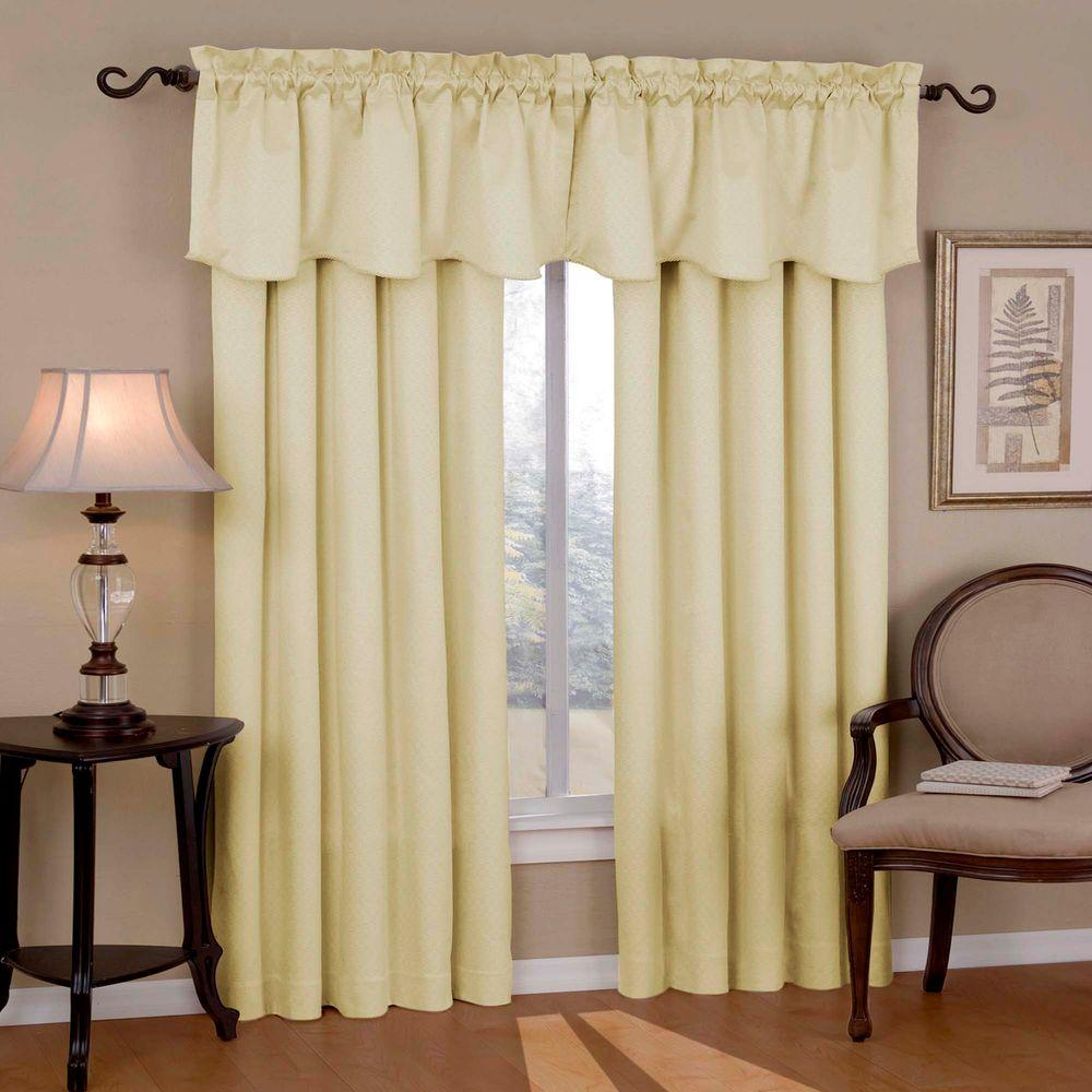 Canova Blackout Ivory Polyester Curtain Valance, 21 in. Length