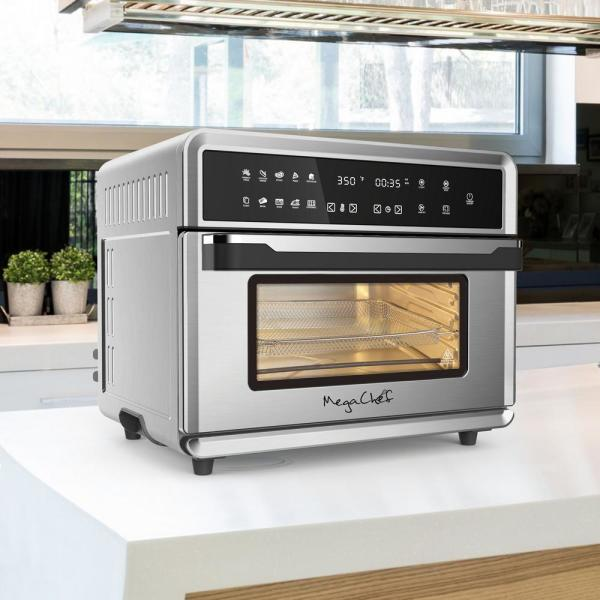 Megachef 1800 W 10 In 1 Countertop Stainless Steel Multi Function Toaster Oven 985114320m The Home Depot