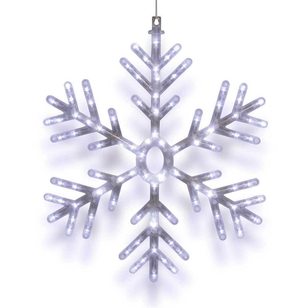 Alpine Corporation 25 in. 102-Light White LED Hanging Snowflake Decor