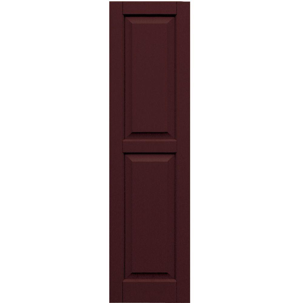 Winworks Wood Composite 15 in. x 56 in. Raised Panel Shutters Pair #657 Polished Mahogany