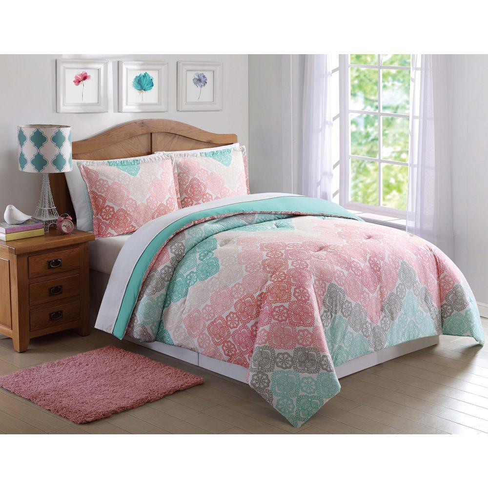 Superb Antique Lace Chevron Pink Twin XL Comforter Set