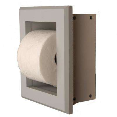 Newton Recessed Toilet Paper Holder 7 Holder in Primed with Bevel Frame in Gray
