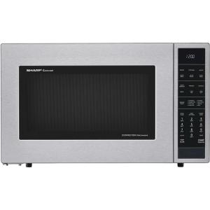Sharp 1 5 Cu Ft Countertop Convection Microwave In Stainless Steel Built Capable With Sensor Cooking Smc1585bs The Home Depot