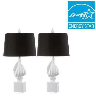 Nautilus 29.5 in. White Table Lamp with Black Shade (Set of 2)