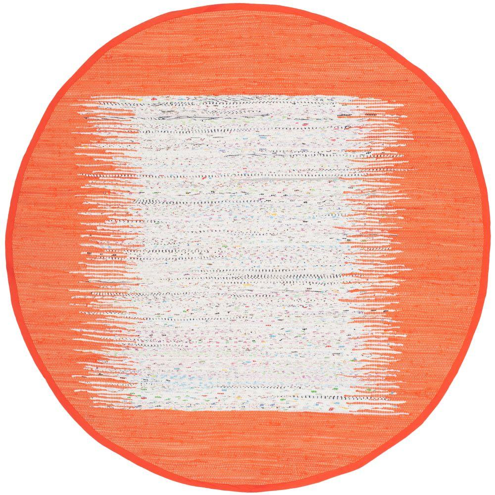 Montauk Ivory/Orange 6 ft. x 6 ft. Round Area Rug