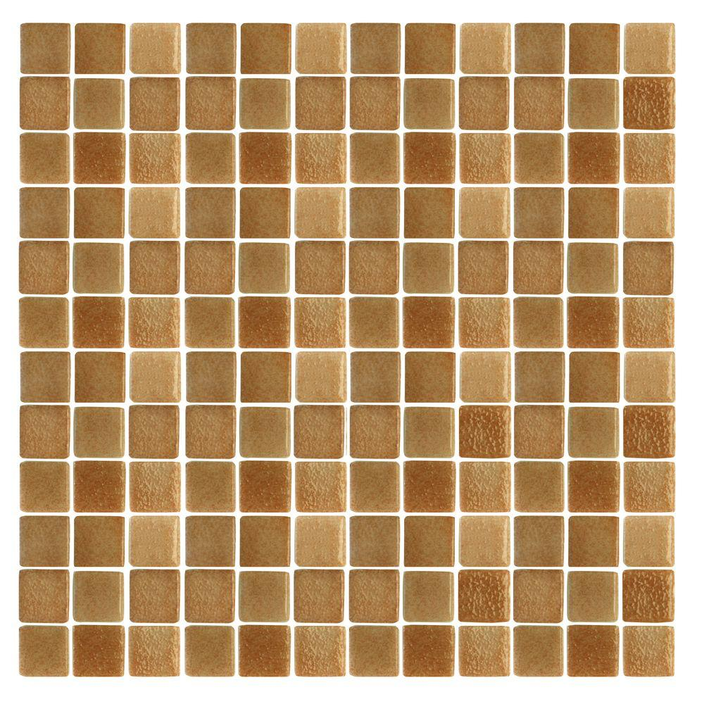 Spongez S-Brown-1410 Mosiac Recycled Glass Mesh Mounted Floor and Wall Tile