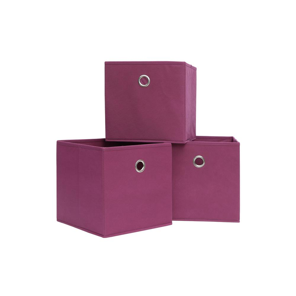 10.5 in. x 10.5 in. Pink Storage Bin (3-Pack)