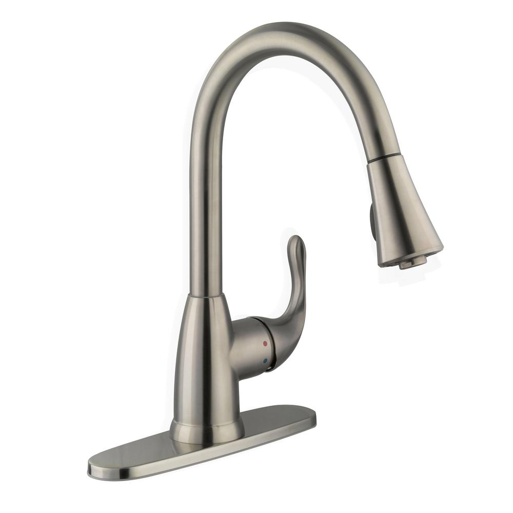 Glacier bay market single handle pull down sprayer kitchen faucet in stainless steel