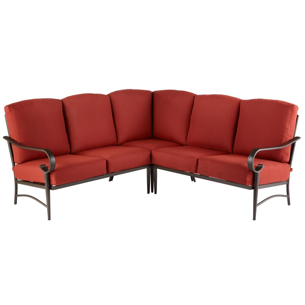 Tremendous Hampton Bay Oak Cliff 3 Piece Steel Fully Cushioned Stamped Back Small Space Outdoor Patio Sectional With Chili Red Cushions Alphanode Cool Chair Designs And Ideas Alphanodeonline