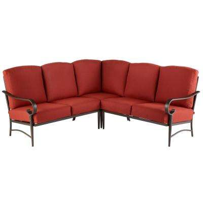 Oak Cliff 3 Piece Steel Fully Cushioned Stamped Back Small Space Outdoor Patio Sectional With Chili Red Cushions