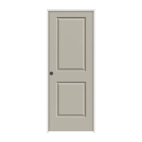 30 in. x 80 in. Cambridge Desert Sand Painted Right-Hand Smooth Molded Composite MDF Single Prehung Interior Door
