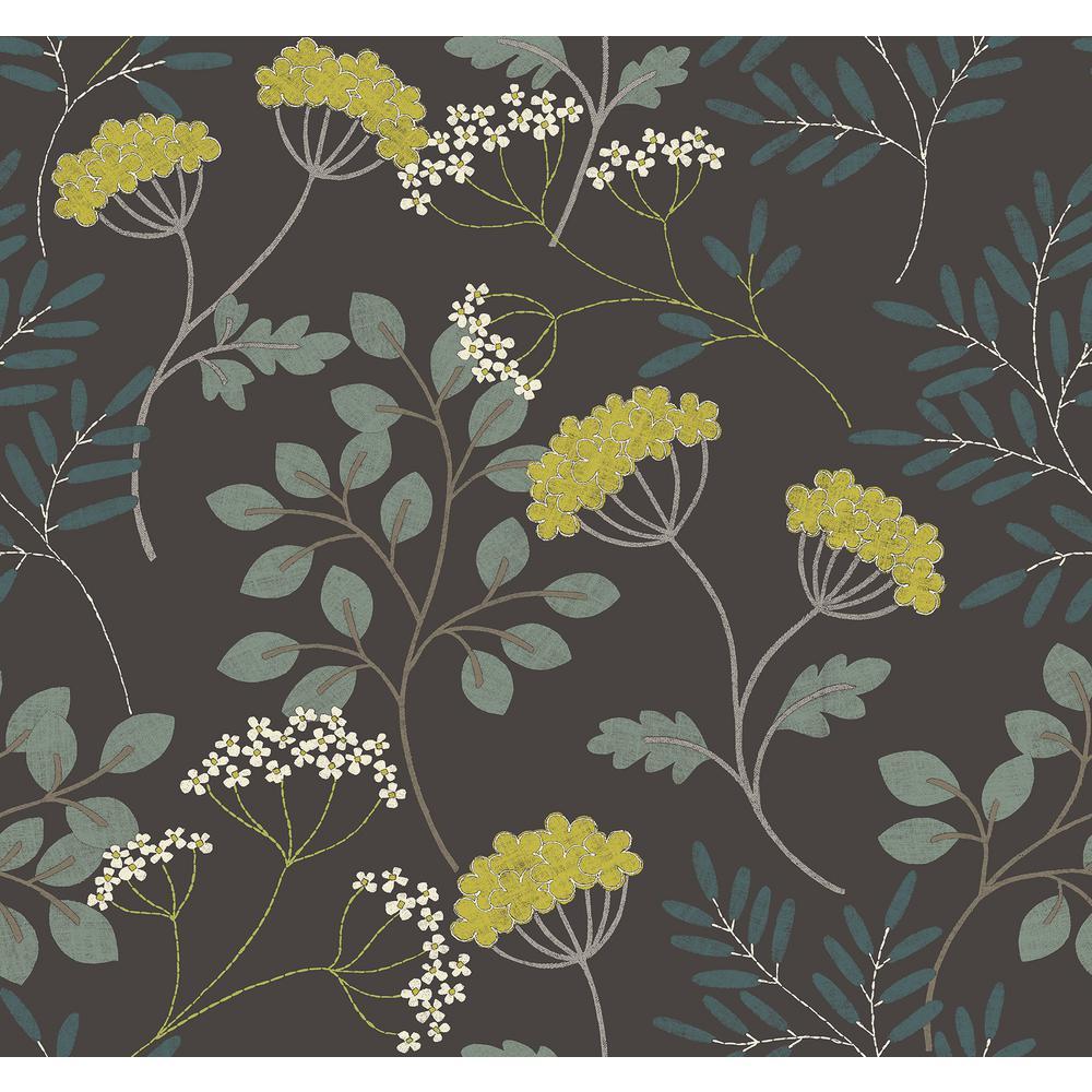 Sorrel Black Botanical Strippable Non Woven Wallpaper