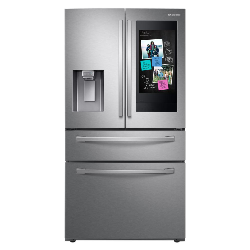 Samsung 27.7 cu. ft. Family Hub 4-Door French Door Smart Refrigerator in Fingerprint Resistant Stainless Steel was $3799.0 now $2697.3 (29.0% off)