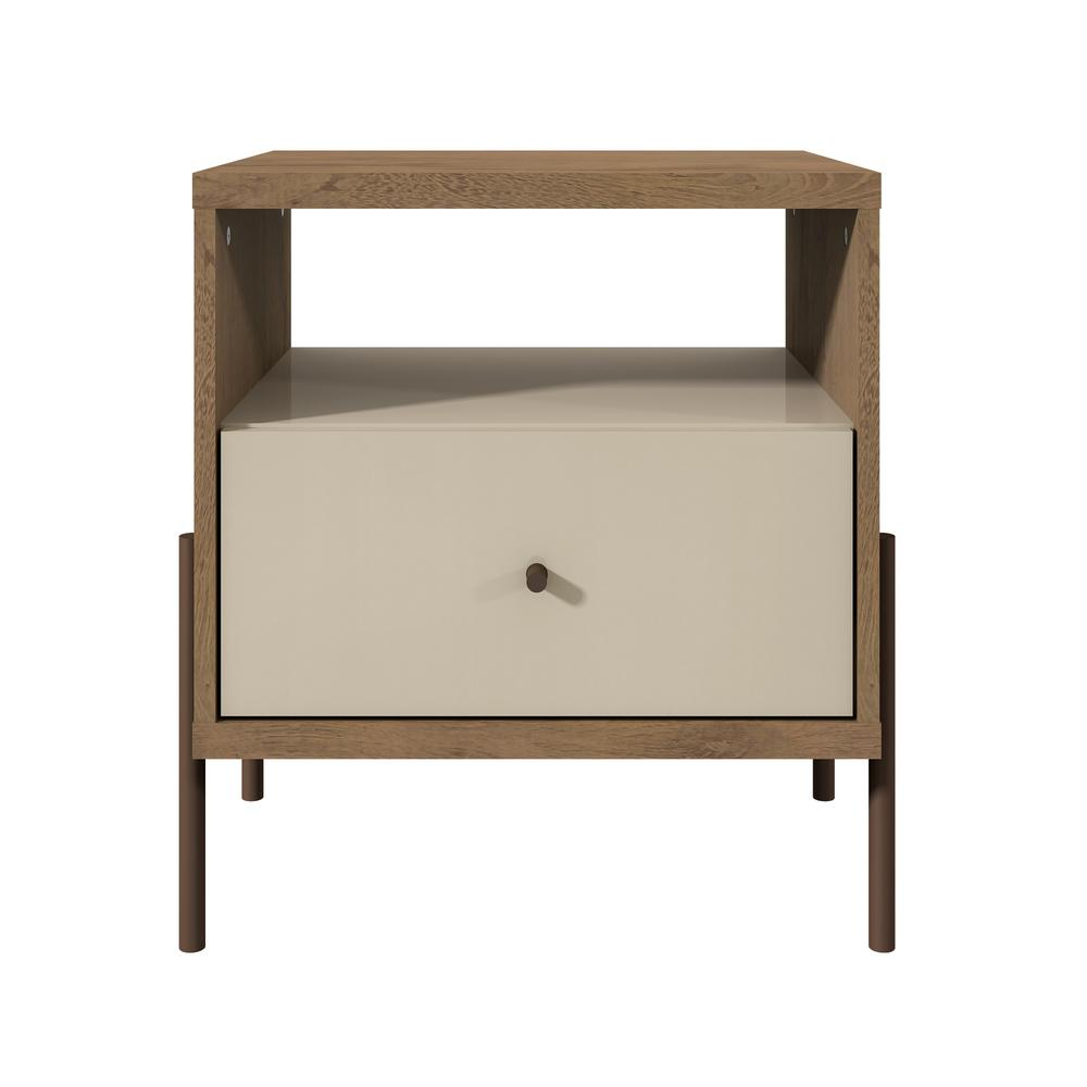 Manhattan Comfort Joy 1 Drawer Off White Nightstand