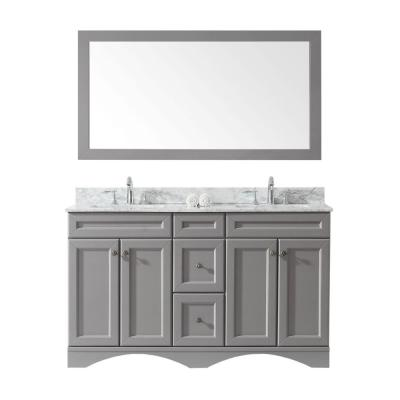 Talisa 60 in. W Bath Vanity in Gray with Marble Vanity Top in White with Square Basin and Mirror