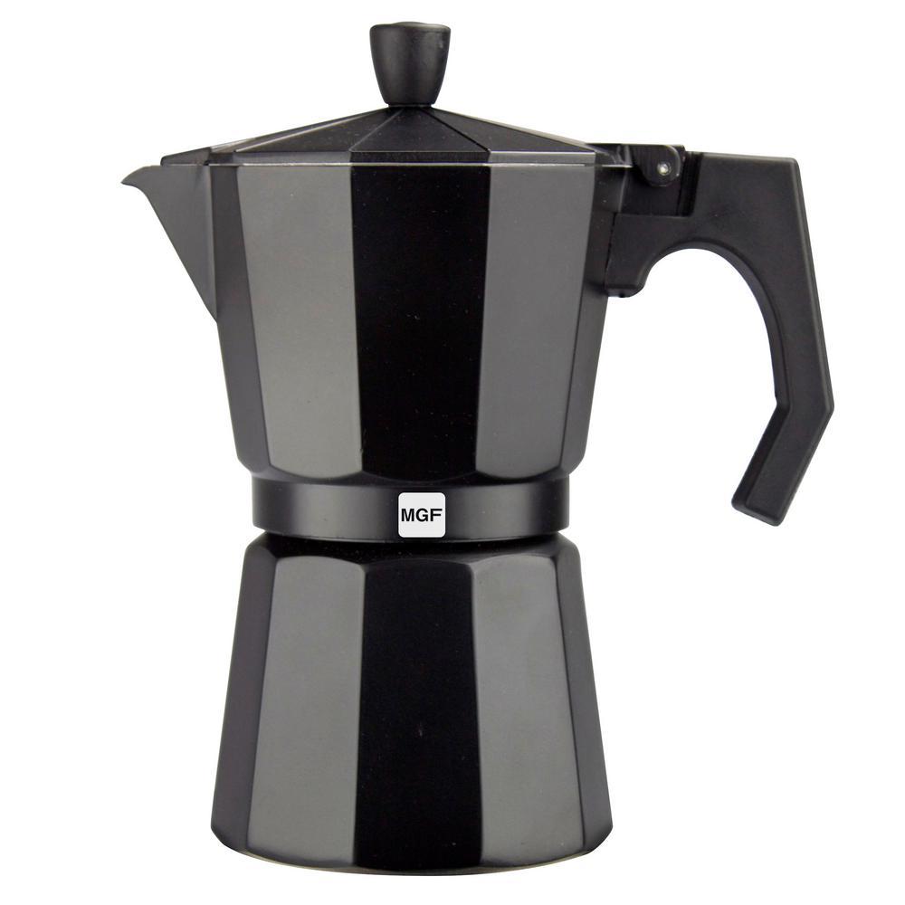 Kenia Noir 6-Cups Aluminum Expresso Coffee Maker in Black