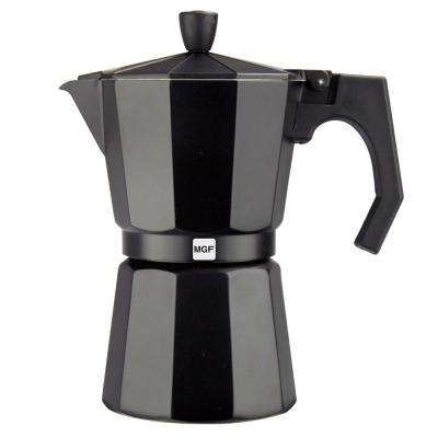 Kenia Noir 6-Cups Aluminum Expresso Coffee Maker in Black