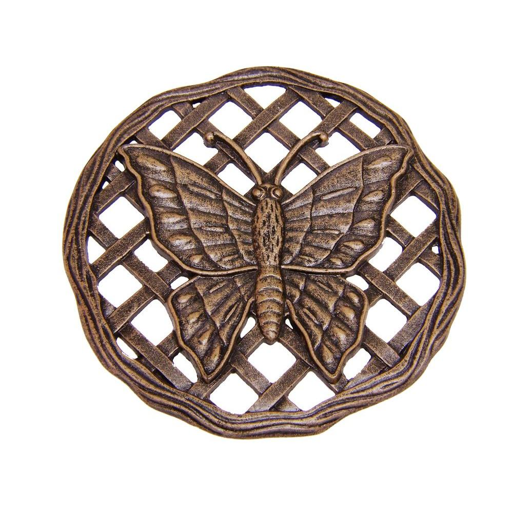 Oakland Living 12 in. x 12 in. Circular Butterfly Aluminum Step Stone in Antique Bronze
