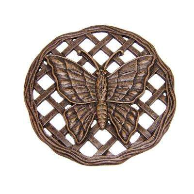 12 in. x 12 in. Circular Butterfly Aluminum Step Stone in Antique Bronze