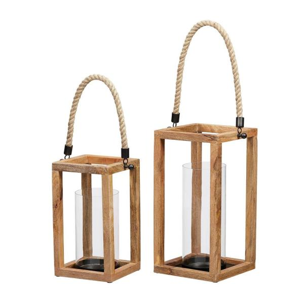 StyleWell Natural Mango Wood Candle Hanging or Tabletop Lantern with Rope Handle (Set of 2)