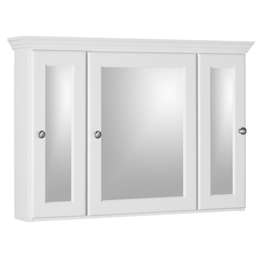 Ultraline 36 in. W x 27 in. H x 6-1/2 in. D Framed Tri-View Surface-Mount Bathroom Medicine Cabinet in Satin White