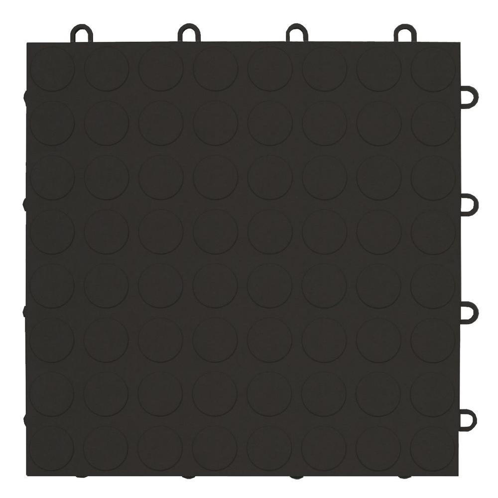 MotorMat Coin Black 12 in. x 12 in. Garage Tile (40-Case)